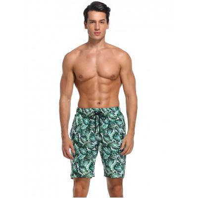 Zeleno-zlaté elastanové pánské plavky s potiskem RELLECIGA Monster