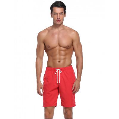Melounověčervené polyesterové pánské plavky bez potisku RELLECIGA