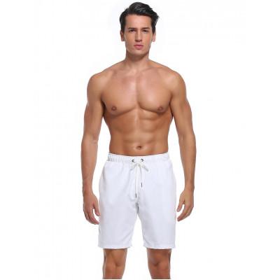 Bílé pánské polyesterové plavky bez potisku RELLECIGA