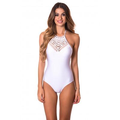 Bílé jednodílné plavky s háčkovaným výstřihem monokiny RELLECIGA Crochet Lace