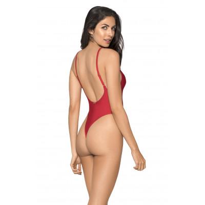 Červené jednodílné plavky s tanga zadním dílem RELLECIGA Baywatch