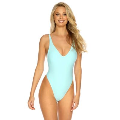 Pastelově modré jednodílné plavky s tanga střihem RELLECIGA Pastels