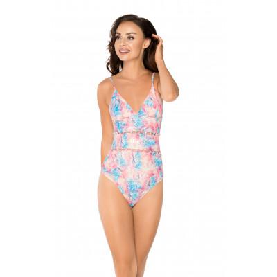 Ružovo-modré jednodielne plavky so sieťkou RELLECIGA Mesh | OUTLET