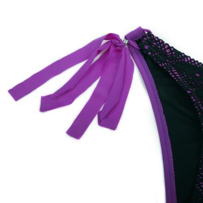 Fialovo-černé plavky s luxusní síťovinou RELLECIGA | Spodní díl | OUTLET