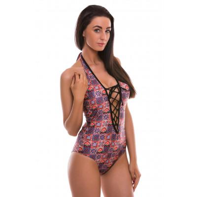 Fialové jednodílné šněrovací plavky s exotickým vzorem RELLECIGA Digital | OUTLET