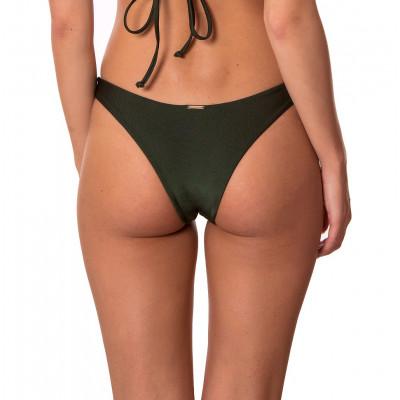Olivově-zelené brazilkové plavkové kalhotky bez řasení RELLECIGA