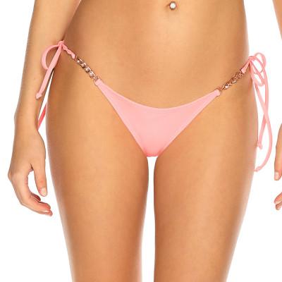Pastelově růžové plavkové kalhotky s kamínky a zlatým řetízkem RELLECIGA Pastels l Bepon