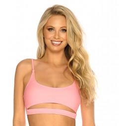 Pastelově růžové crop-top plavky s poodhalení prsy RELLECIGA Pastels